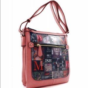 African American Print Design Crossbody Bag Pink